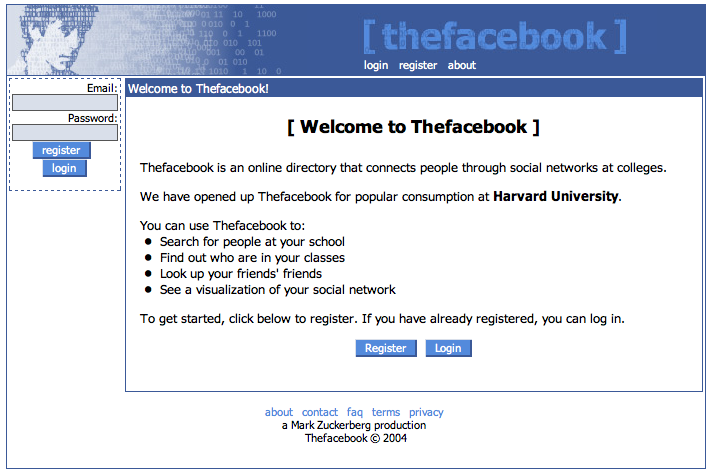 Screenshot of The Facebook login page