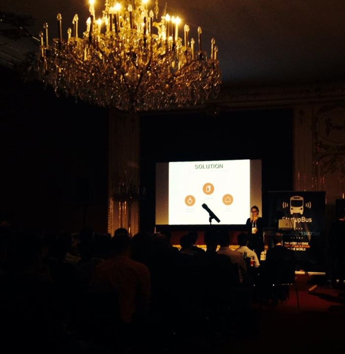 Aiden pitching at Pioneers Festival, Vienna